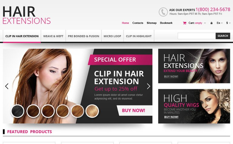 Hair Extensions Store Prestashop Theme 45167