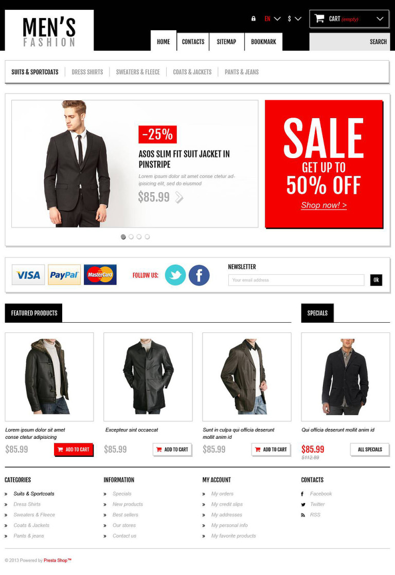 Men's Fashion Boutique PrestaShop Theme New Screenshots BIG