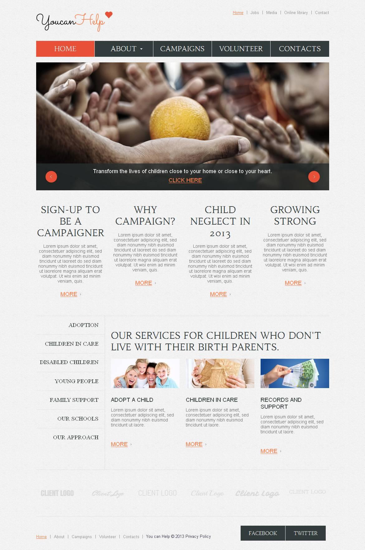 Modèle Moto CMS HTML Premium pour site d'association caritative #45108