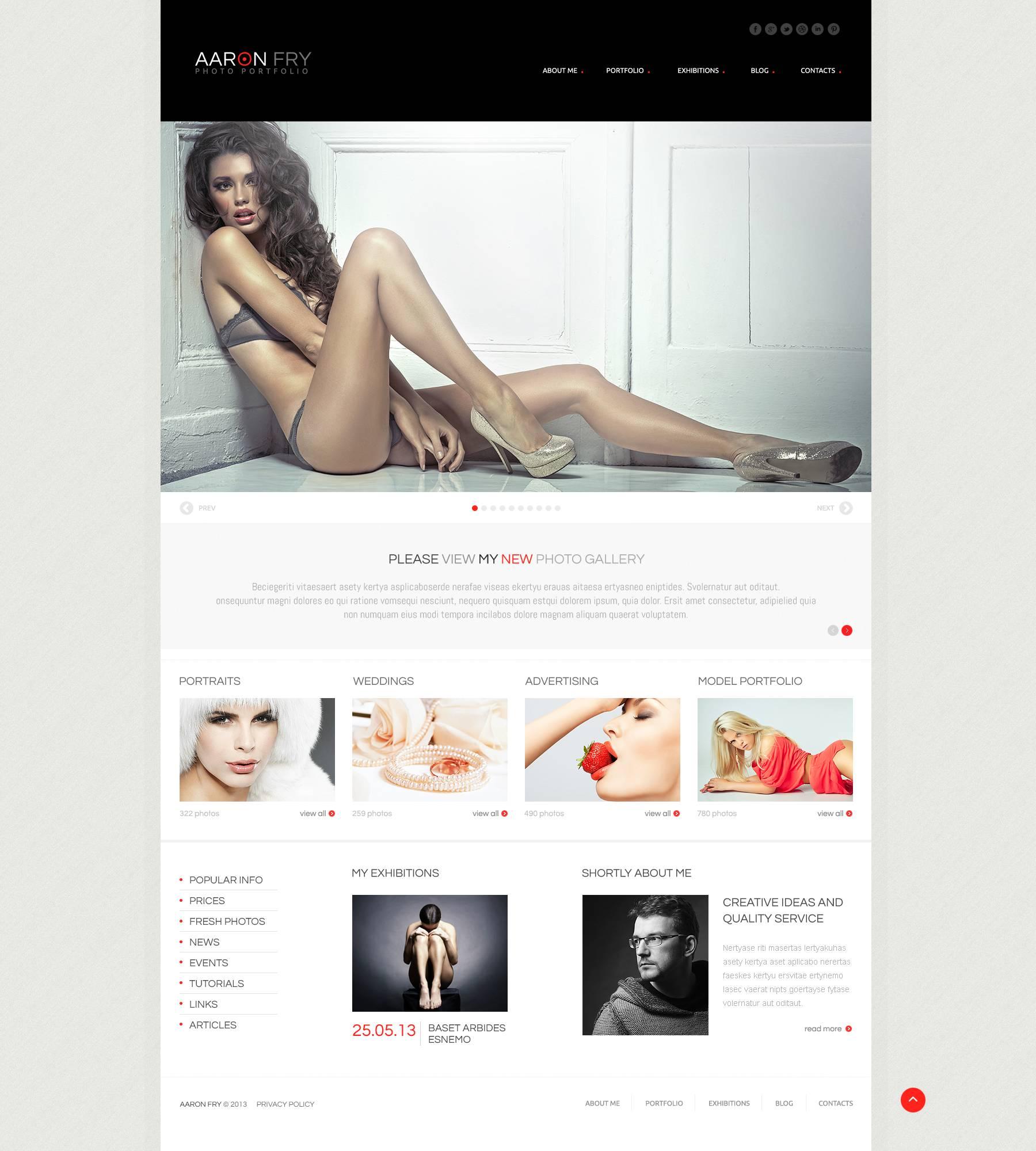 "Modello WordPress Responsive #45176 ""Photographer Folio"" - screenshot"