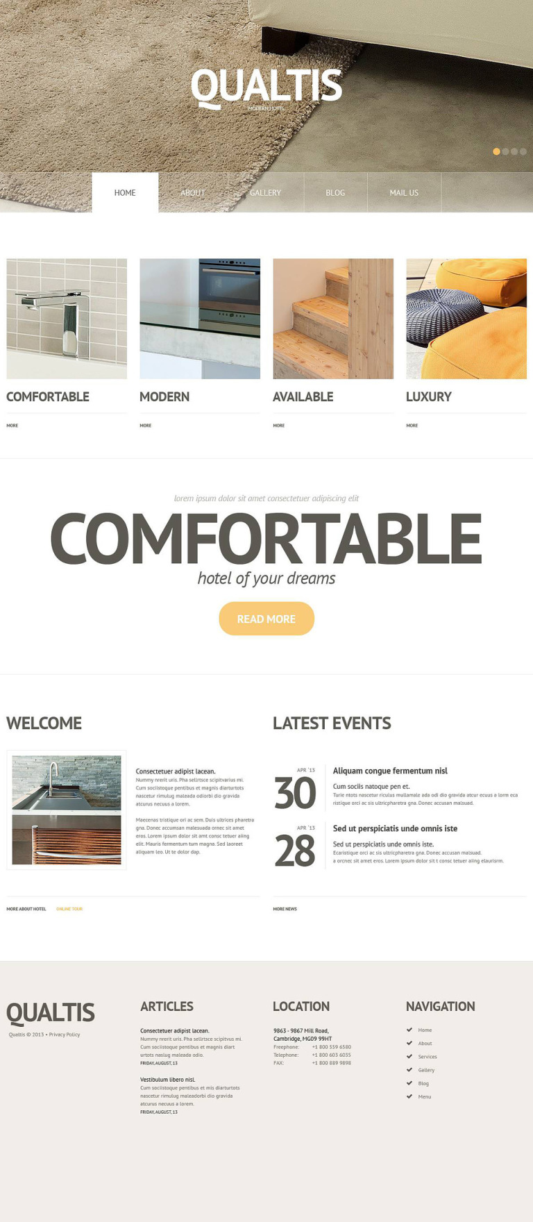 Modern Hotel WordPress Theme New Screenshots BIG