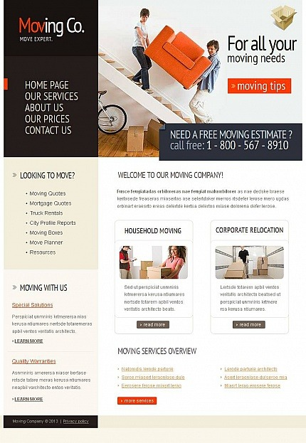Moving Company Facebook HTML CMS Template Facebook Screenshot