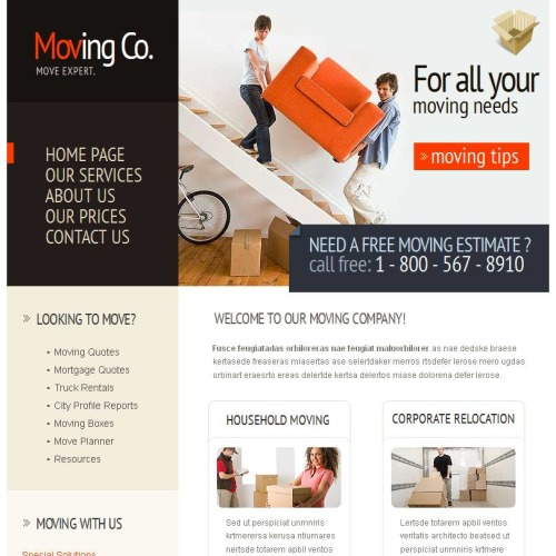 Moving Co - Facebook HTML CMS Template