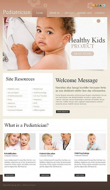 Pediatrician Facebook HTML CMS Template Facebook Screenshot