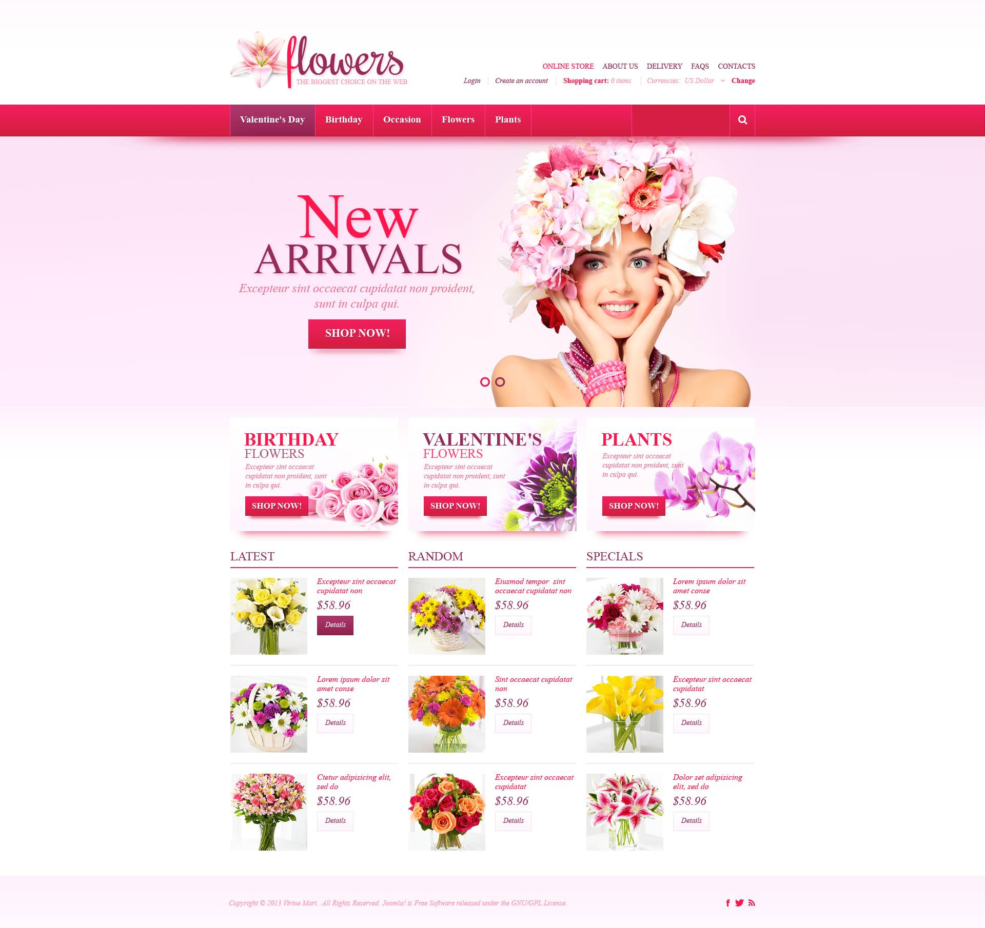 "Plantilla VirtueMart ""Fresh Flowers"" #45171"