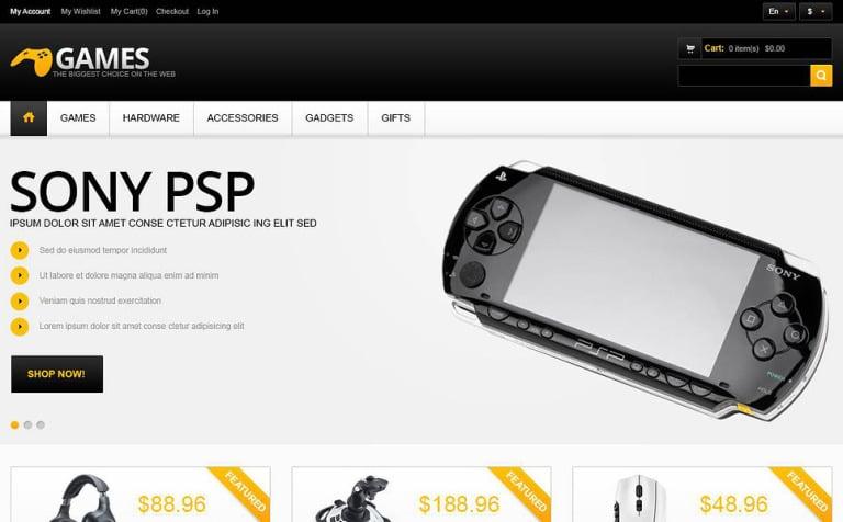 Responsive Gaming Store Magento Theme