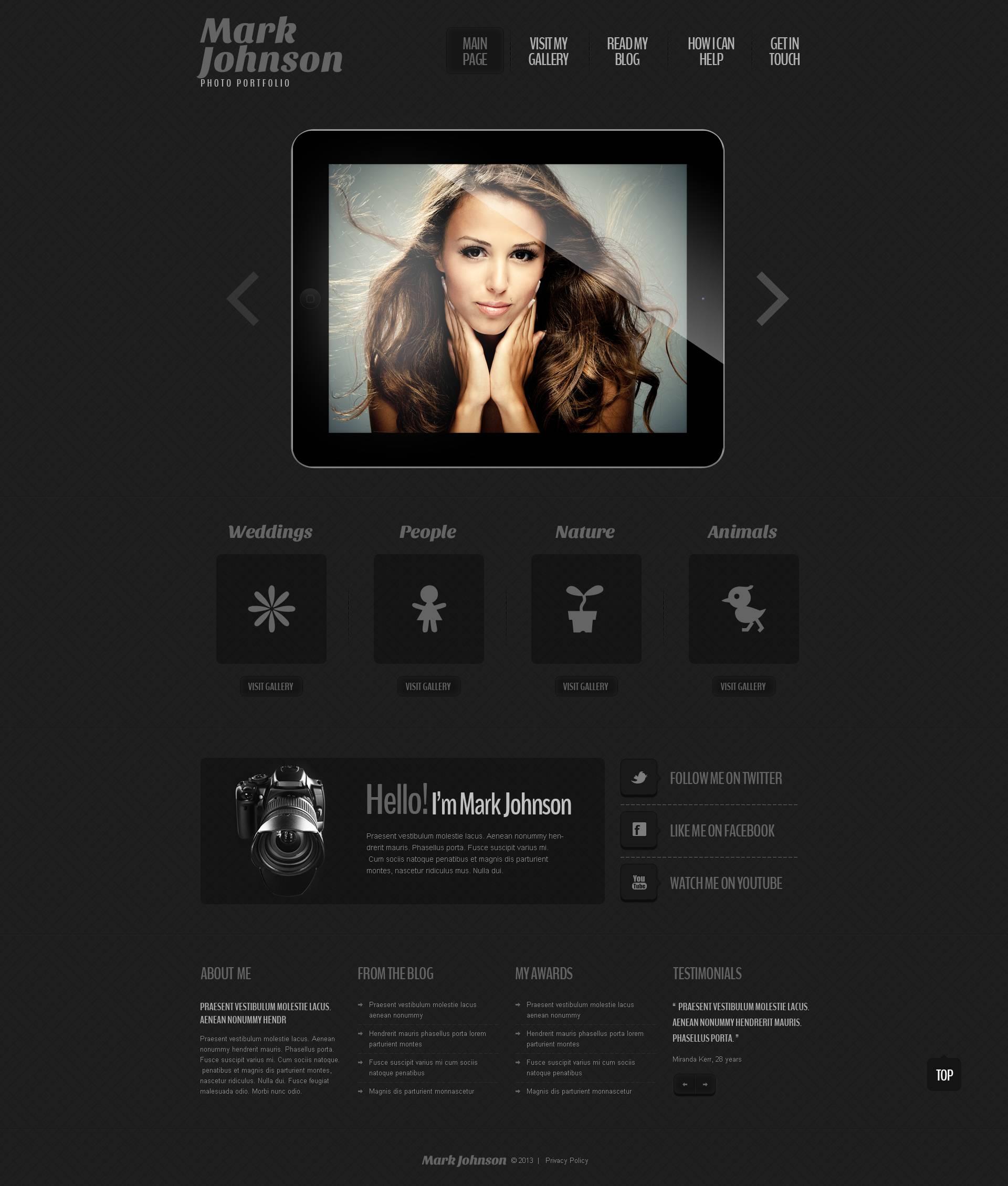 Responsywny motyw WordPress #45143 na temat: portfolio fotograficzne - zrzut ekranu