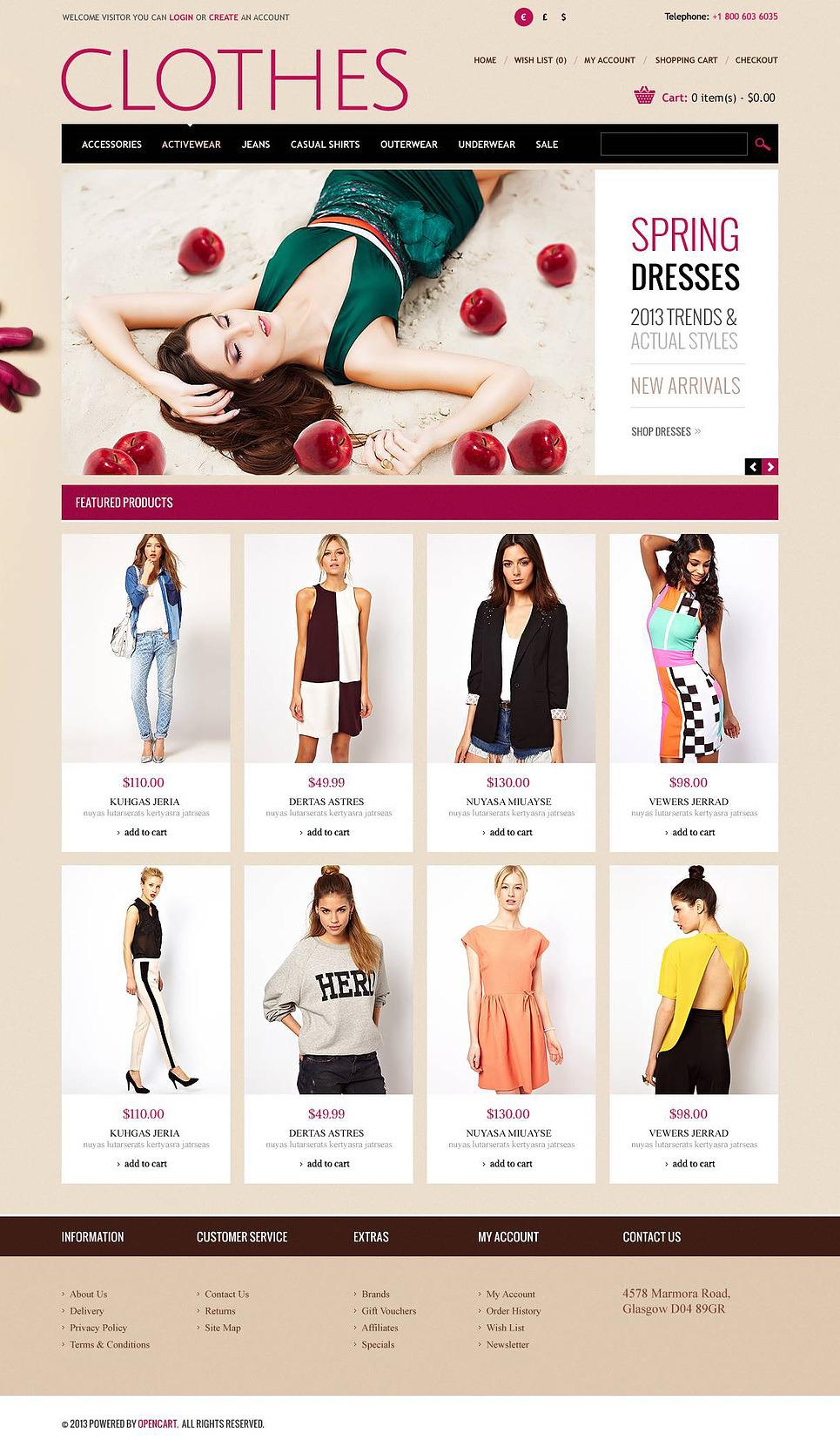Romantic Clothes Store OpenCart Template New Screenshots BIG
