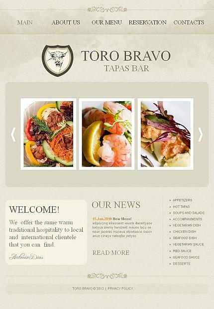 Tapas Restaurant Facebook HTML CMS Template Facebook Screenshot