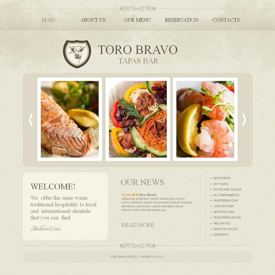 Tapas Restaurant Moto CMS HTML Template New Screenshots BIG