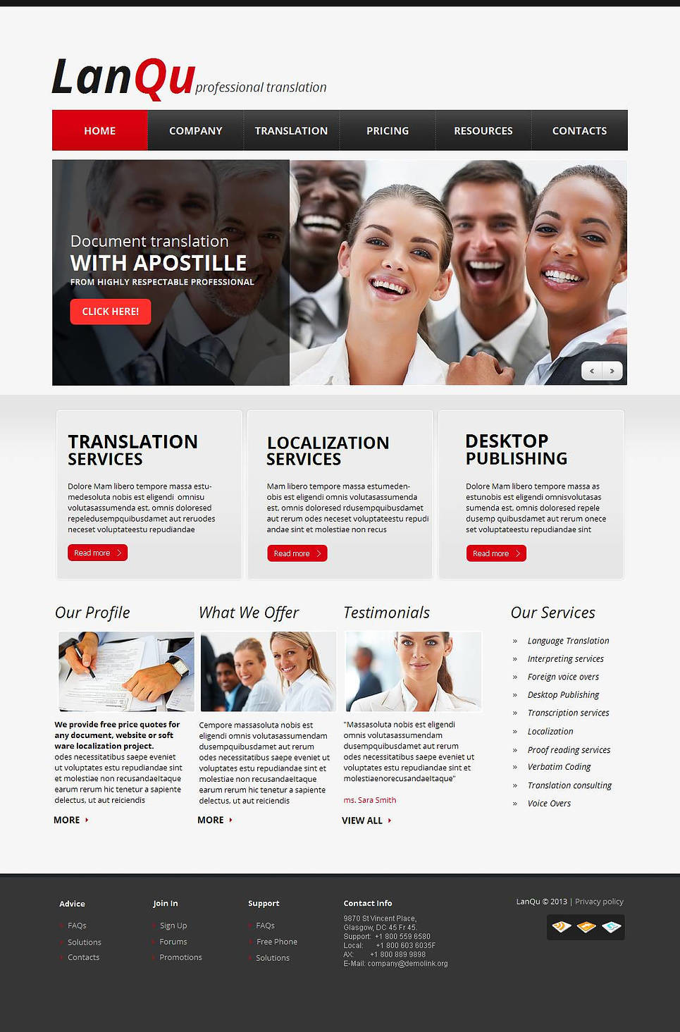 Translation Bureau Moto CMS HTML Template New Screenshots BIG