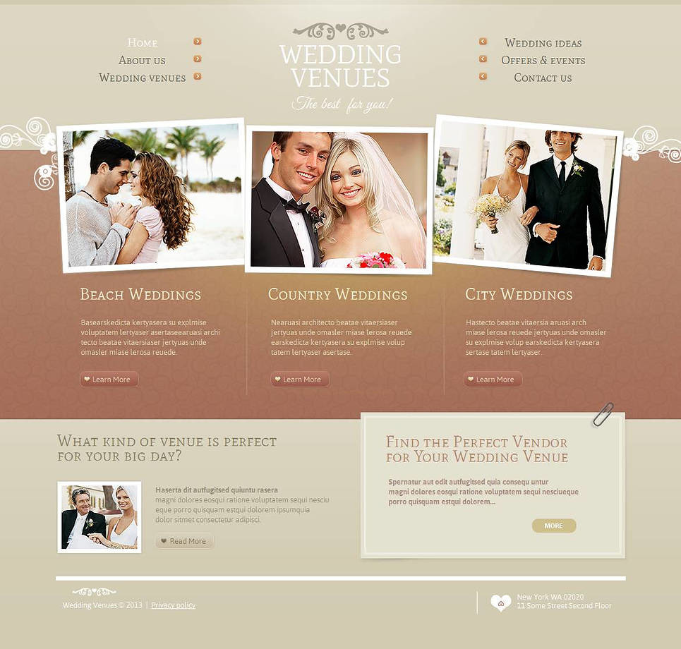Wedding Venues Moto CMS HTML Template New Screenshots BIG