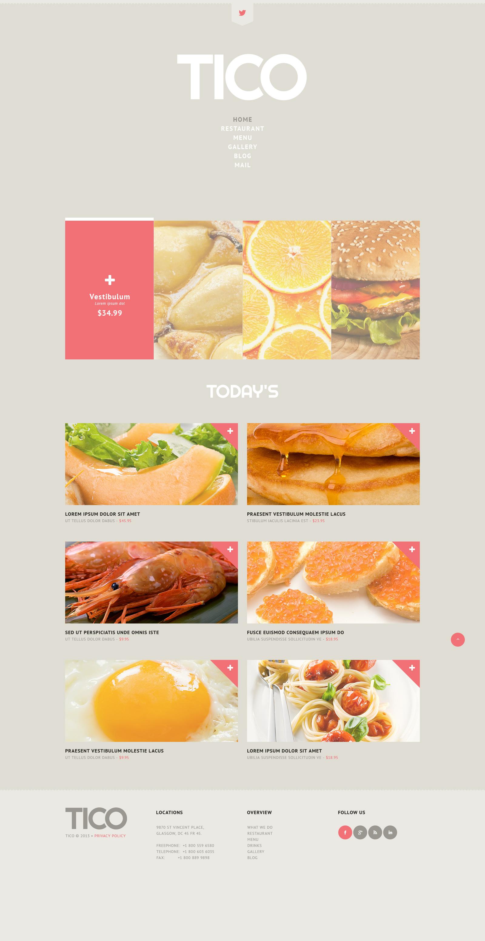 """WordPress Theme namens """"europäisches Restaurant"""" #45147 - Screenshot"""