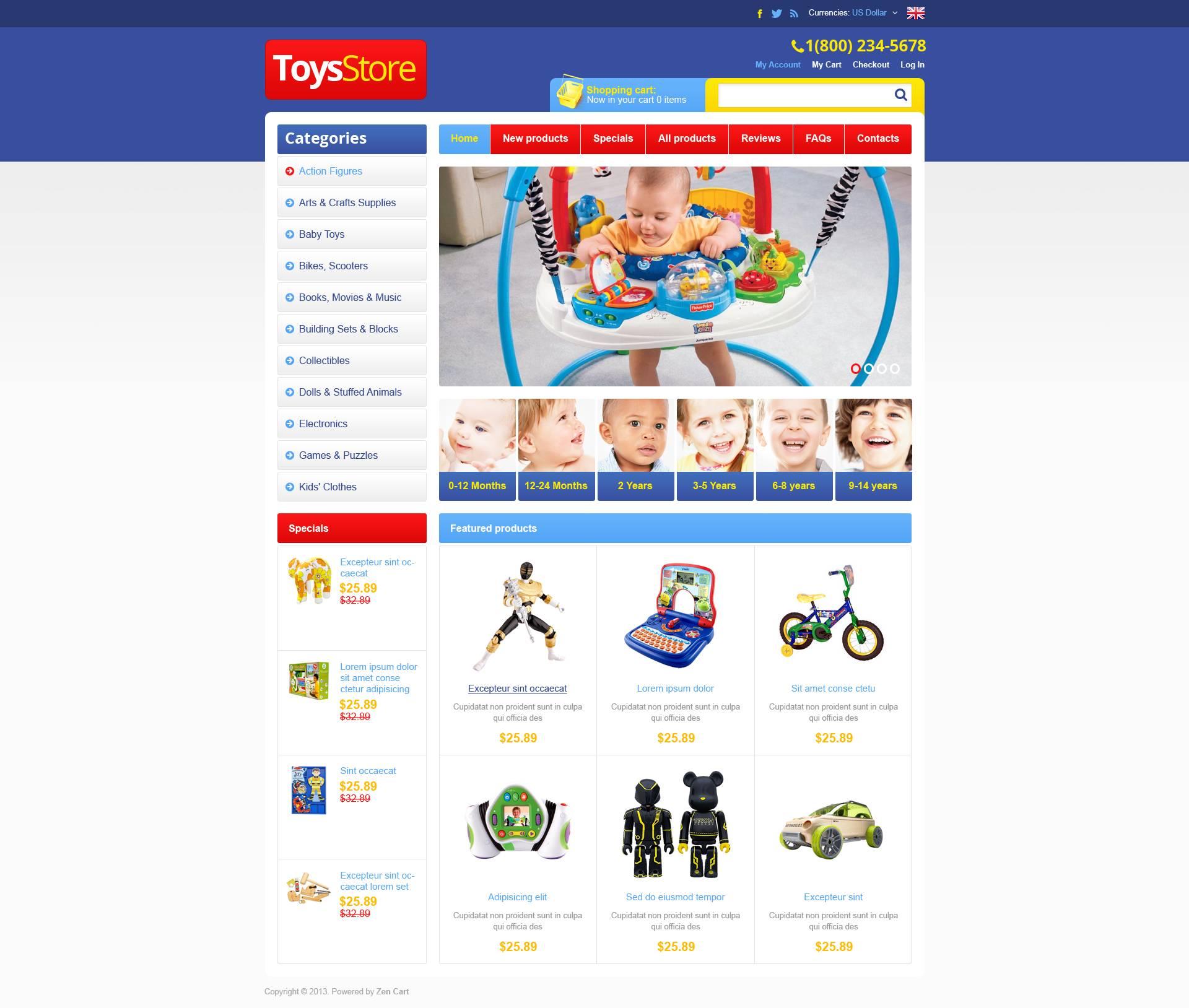 """ZenCart Vorlage namens """"Spielzeugladen"""" #45166"""