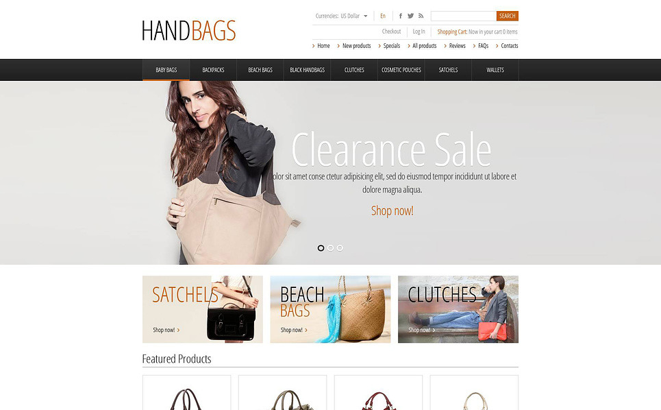"ZenCart Vorlage namens ""Modische Handtaschen"" New Screenshots BIG"