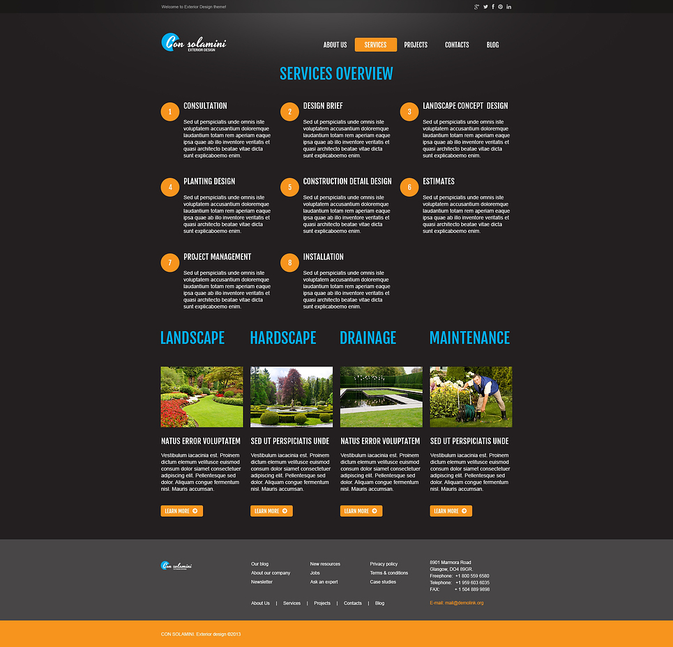 Exterior design responsive website template 45248 by wt for Exterior design website templates