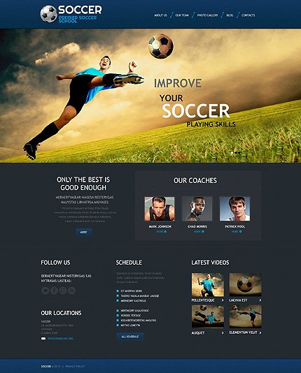 Sport WordPress Theme Website Templates - Soccer website templates