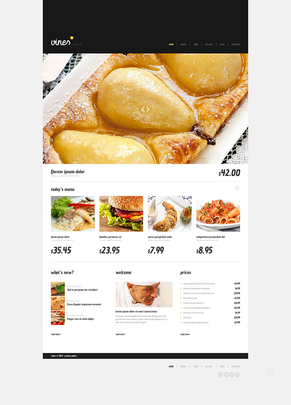 Адаптивный шаблон сайта на тему кафе #45241