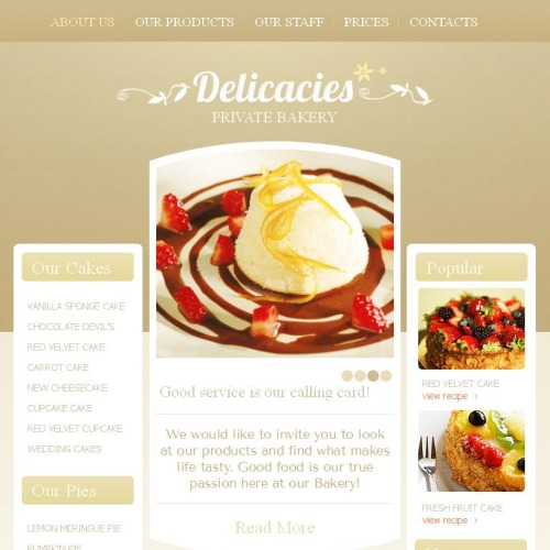 Delicacies - Facebook HTML CMS Template