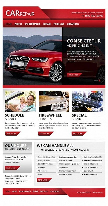 Car Repair Facebook HTML CMS Template Facebook Screenshot