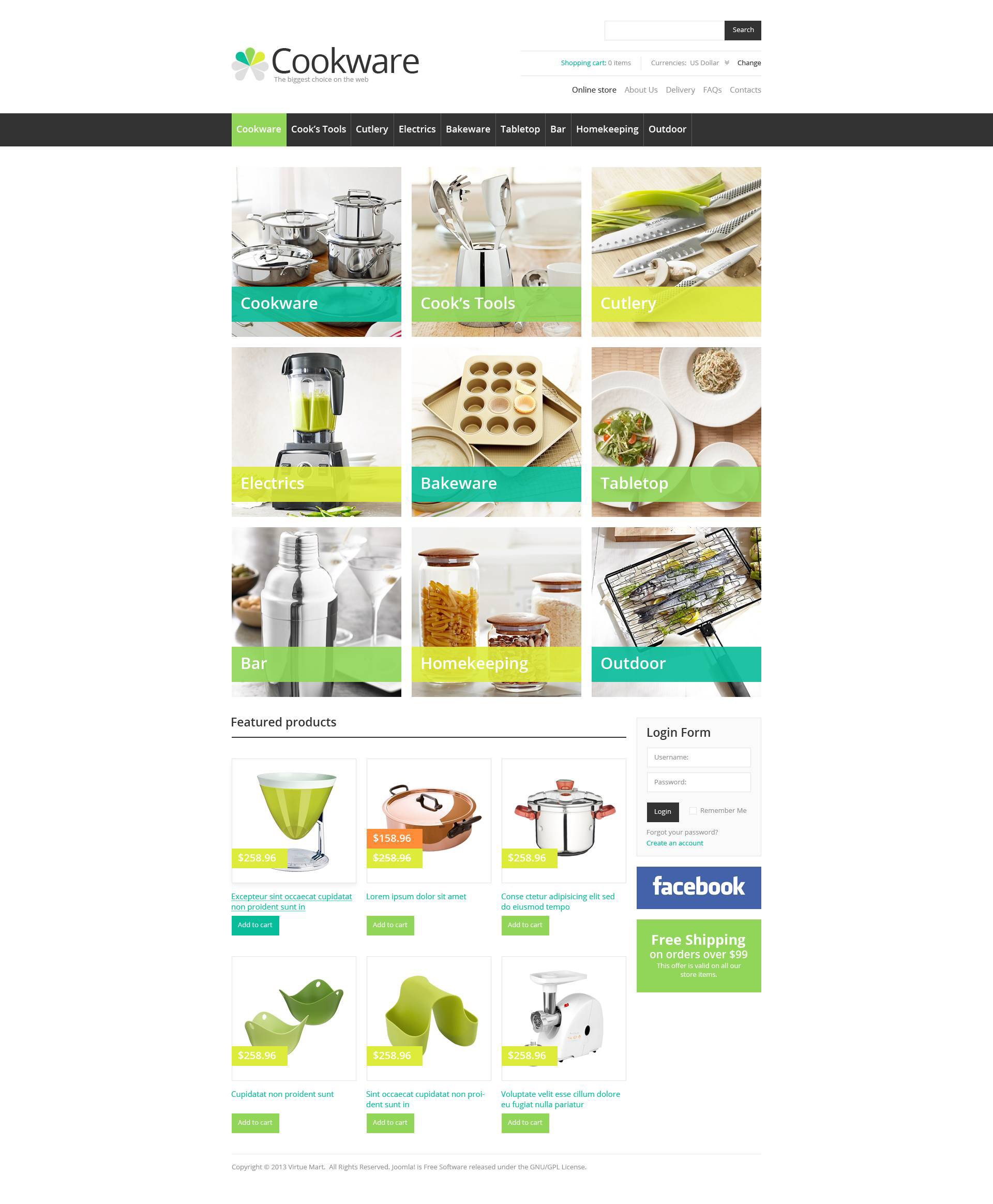 Cook's Tools Template VirtueMart №45229 - captura de tela