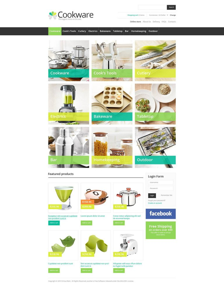 Cook's Tools VirtueMart Template New Screenshots BIG