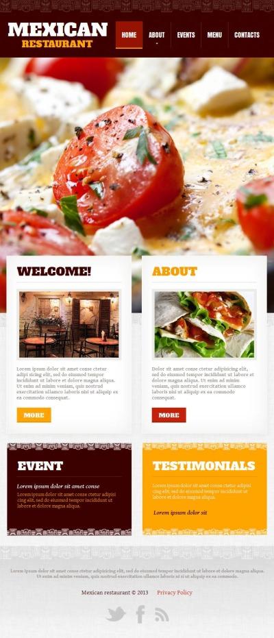 Mexican Restaurant Facebook HTML CMS шаблон