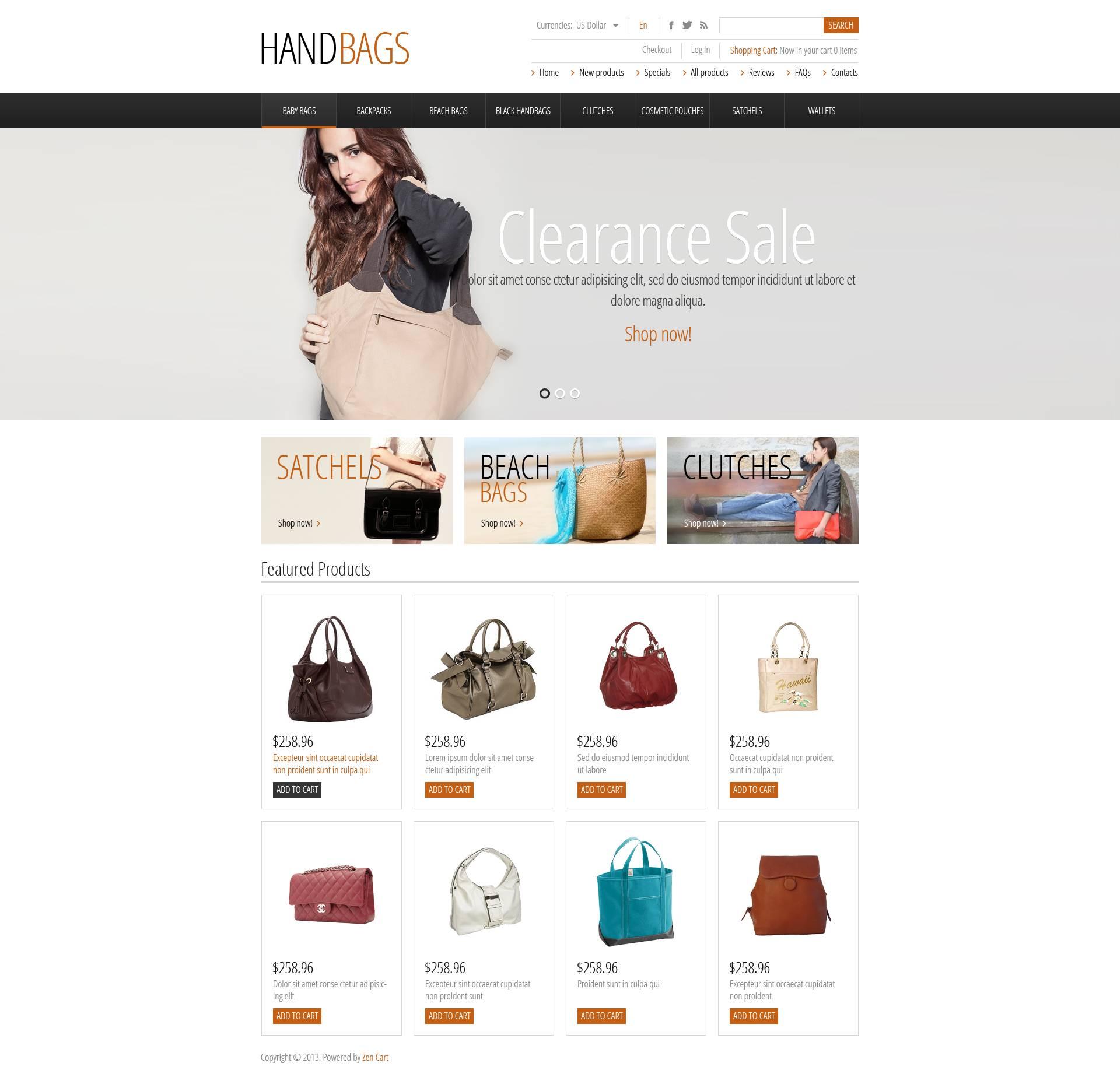 """""""Fashionable Handbags"""" ZenCart template №45226"""