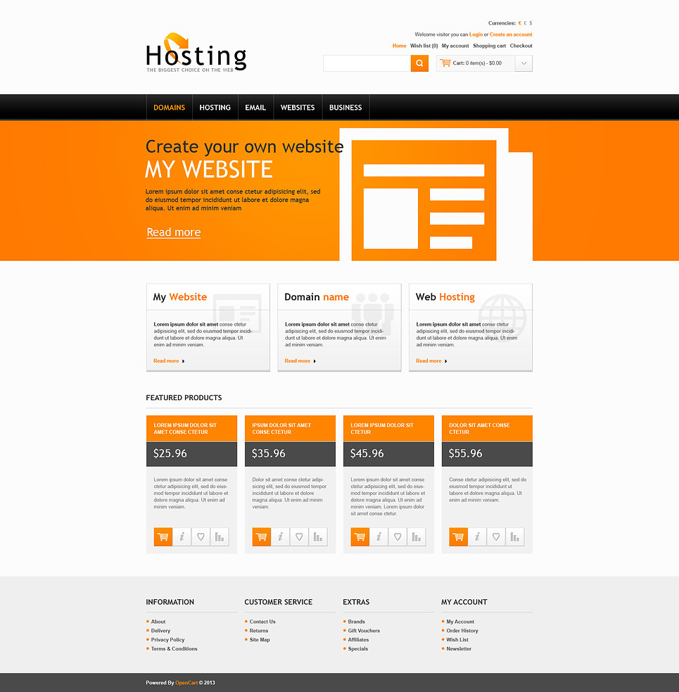 Hosting Solutions OpenCart Template New Screenshots BIG