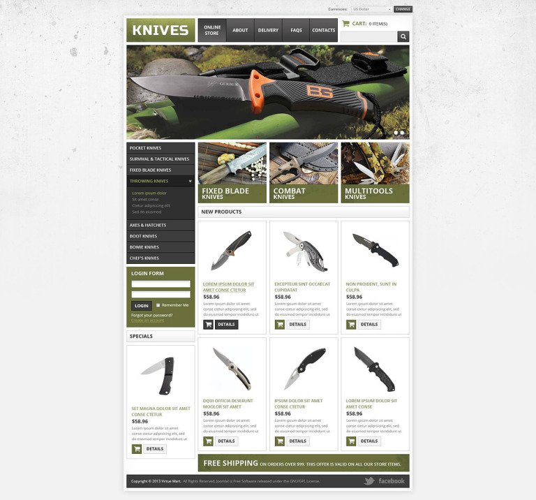Knives VirtueMart Template New Screenshots BIG