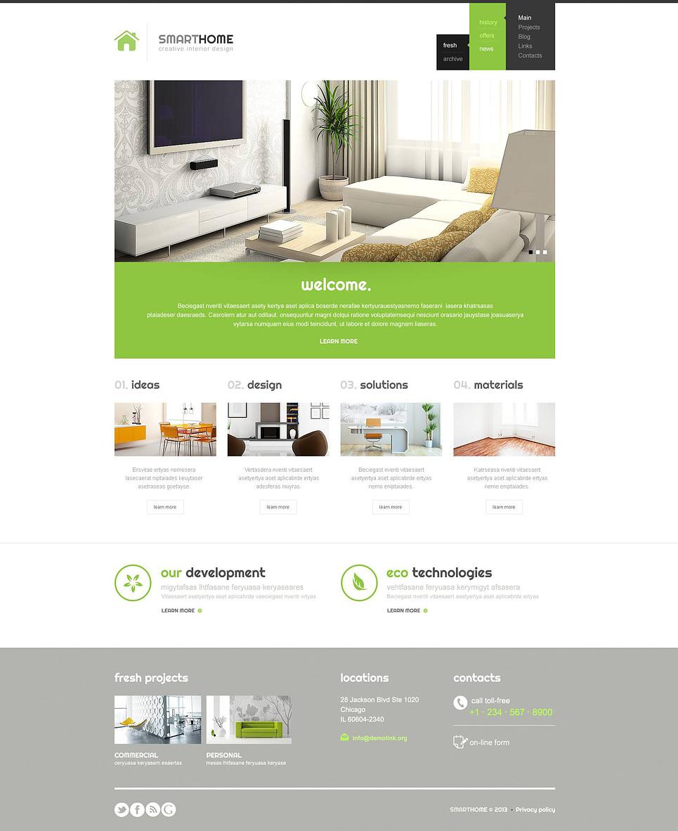 Modern interior design wordpress theme 45267 for Interior design web site