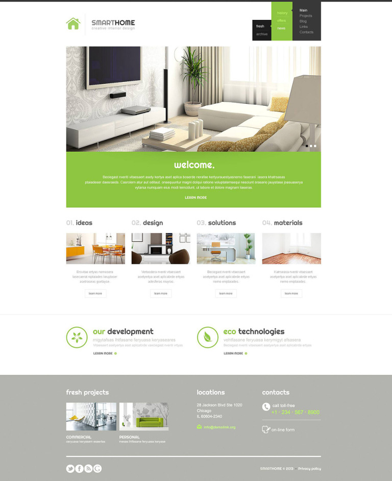 Modern Interior Design WordPress Theme New Screenshots BIG