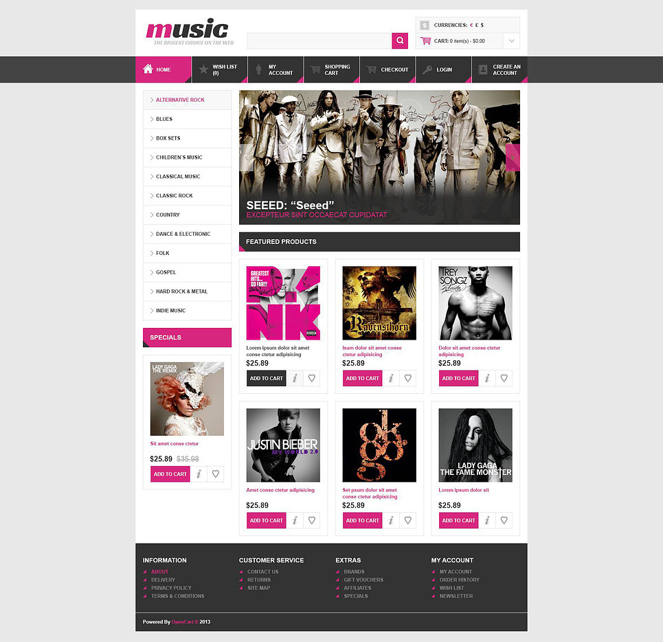 Music Store OpenCart Template New Screenshots BIG