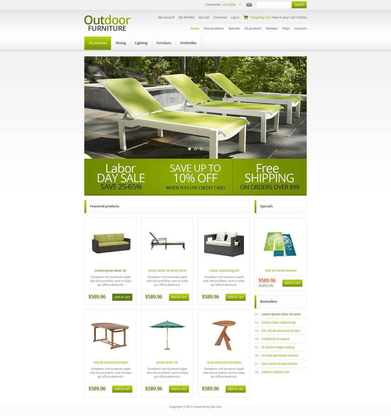 Outdoor Furniture ZenCart Template New Screenshots BIG