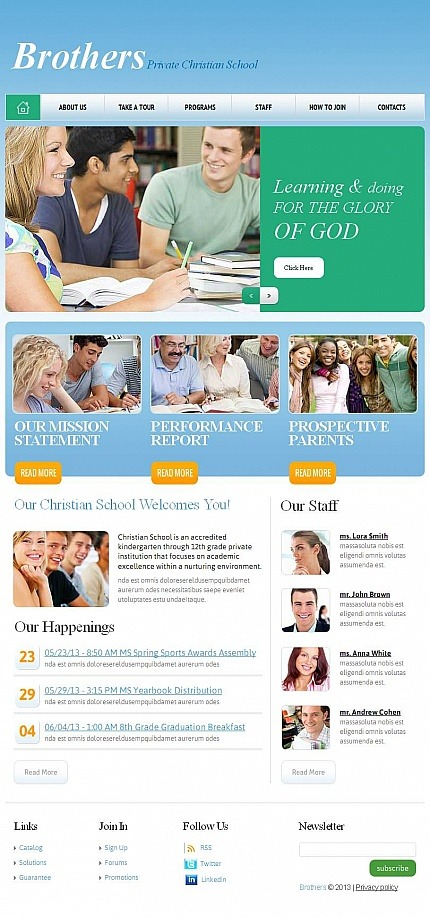 Religious School Facebook HTML CMS Template Facebook Screenshot