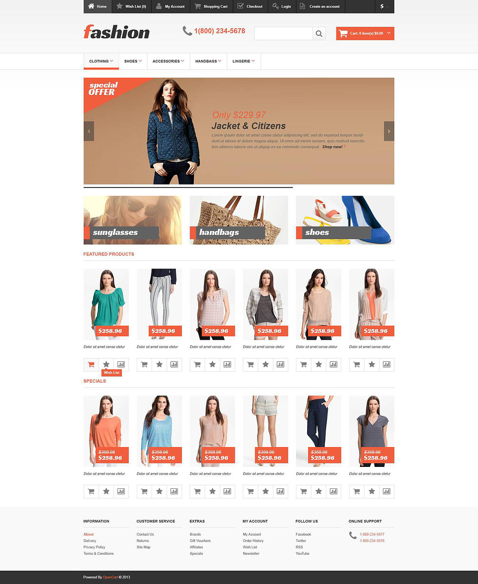 Responsive Fashion Store OpenCart Template New Screenshots BIG