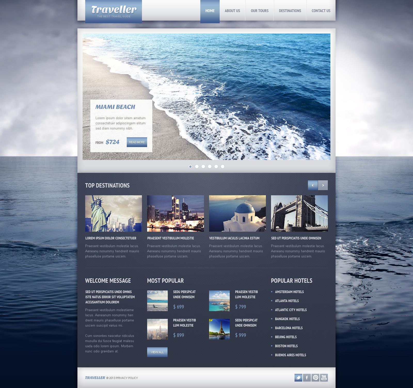 Template Web Flexível para Sites de Guia de Viagens №45250