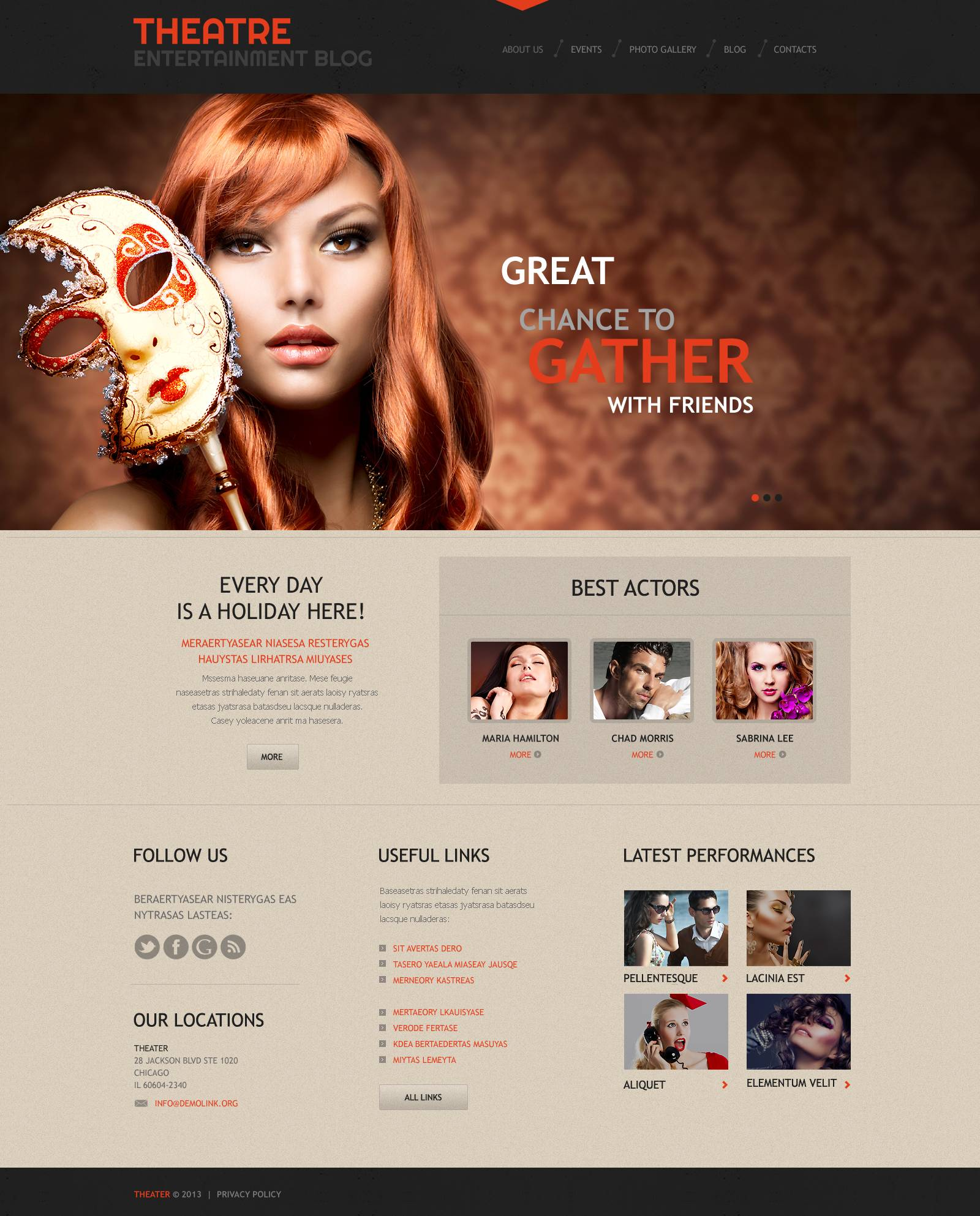 Theater Responsive WordPress Theme #45269