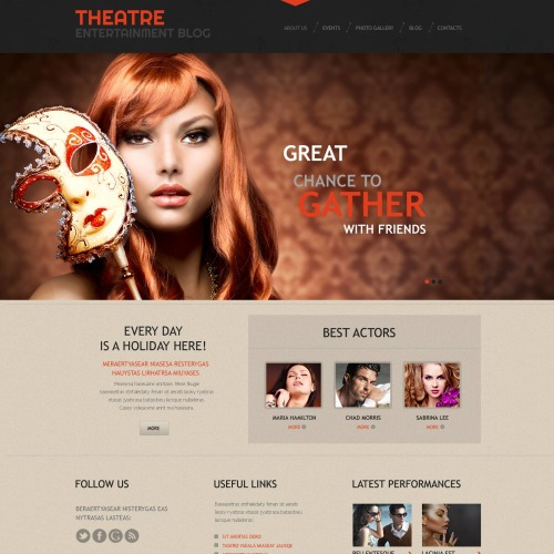 Theatre - Entertainment Blog WordPress Template based on Bootstrap