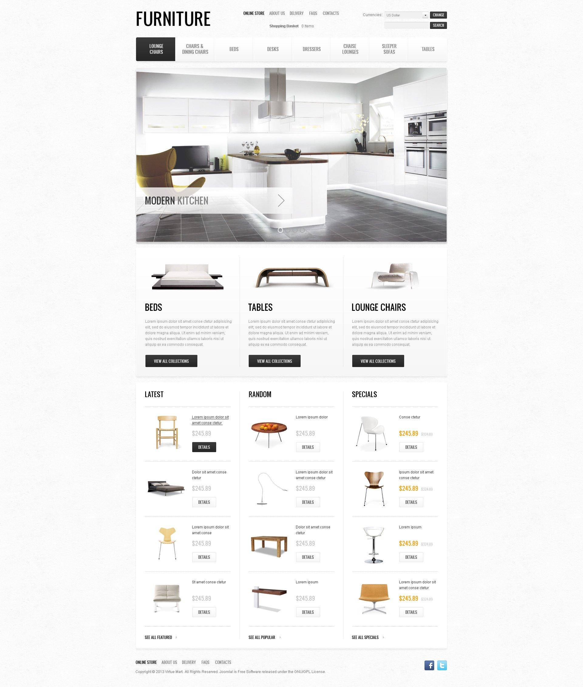 "VirtueMart Vorlage namens ""Furniture of the Future"" #45277"