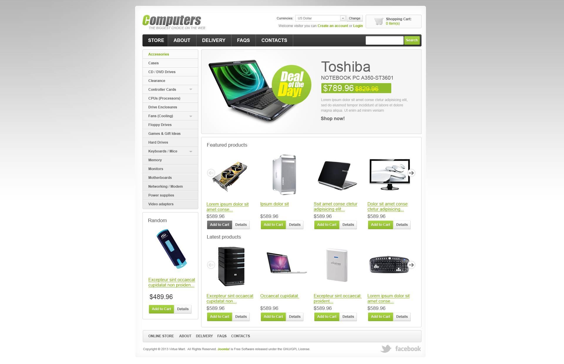 """VirtueMart Vorlage namens """"Minimalistischer Computer-Shop"""" #45230"""