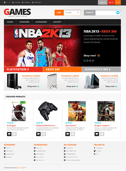 Tema PrestaShop  Flexível para Sites de Jogos №45347 PrestaShop Main Page Screenshot