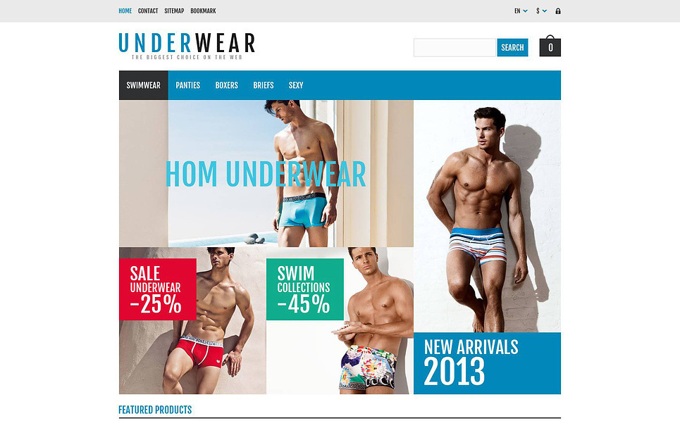 Responsive Men's Underwear Templates Prestashop Teması New Screenshots BIG