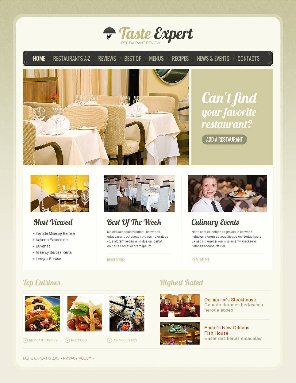 Restaurant Consulting Website Template Done in Neutral Colors - image