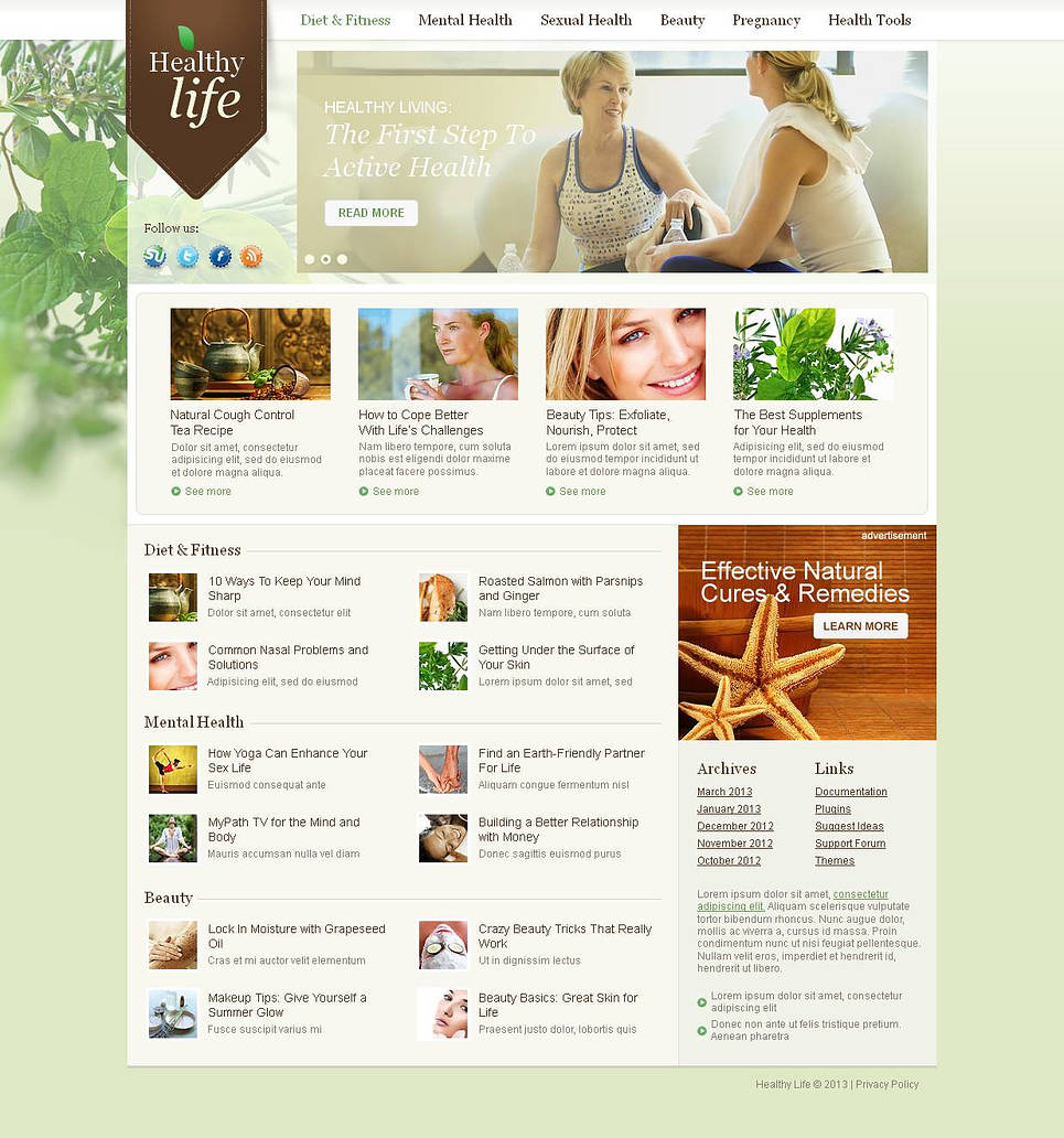 Healthy Life Website Template with a Content Slider - image