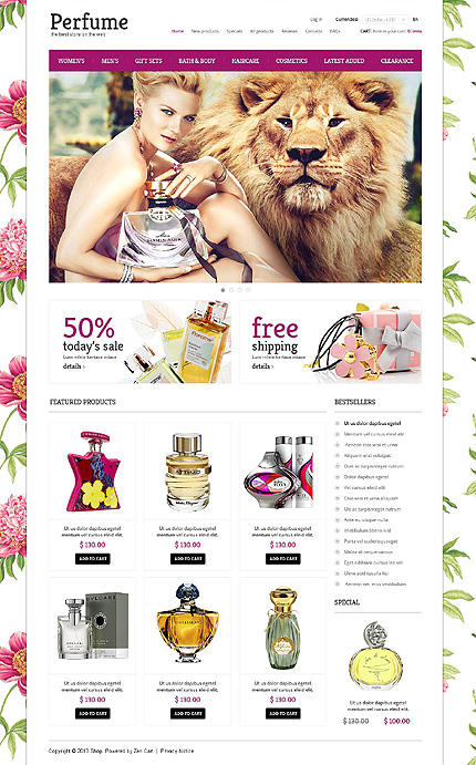 ZenCart Template 45395 Main Page Screenshot