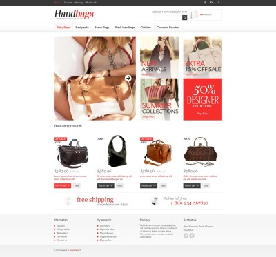 Адаптивный PrestaShop шаблон №45349 на тему магазин сумок