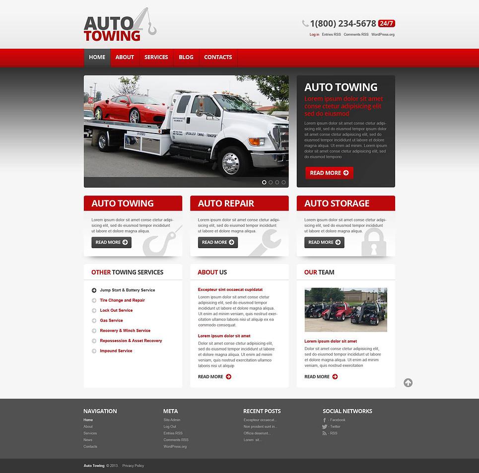auto towing car repair wordpress theme 45390