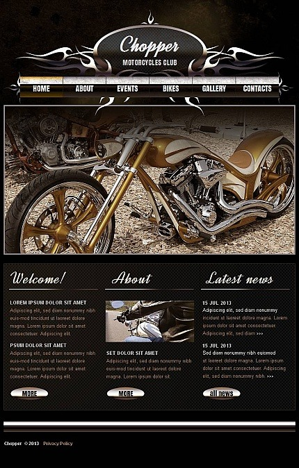Biker Club Facebook HTML CMS Template Facebook Screenshot
