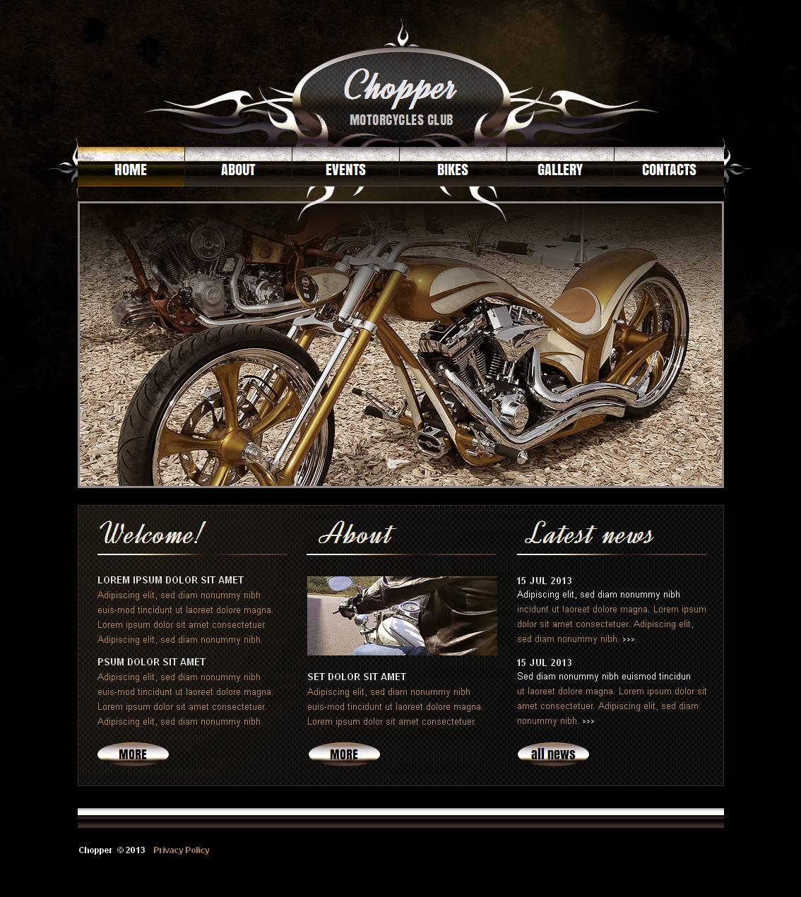 Biker Club Moto CMS HTML Template